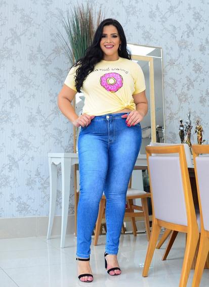 Calça Feminino Jeans Plus Size Com Lycra Tamanhos 50 E 54