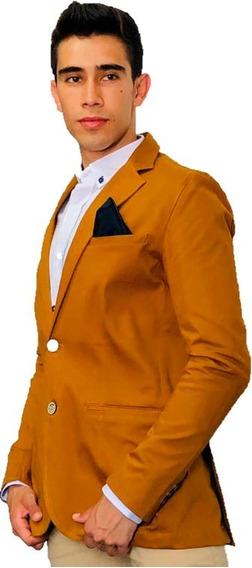 Blazer Saco Para Hombre Color Mostaza Clásico Peaceful
