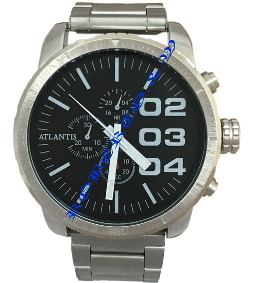 Relógio Masculino Original Atlantis Prateado Pronta Entrega