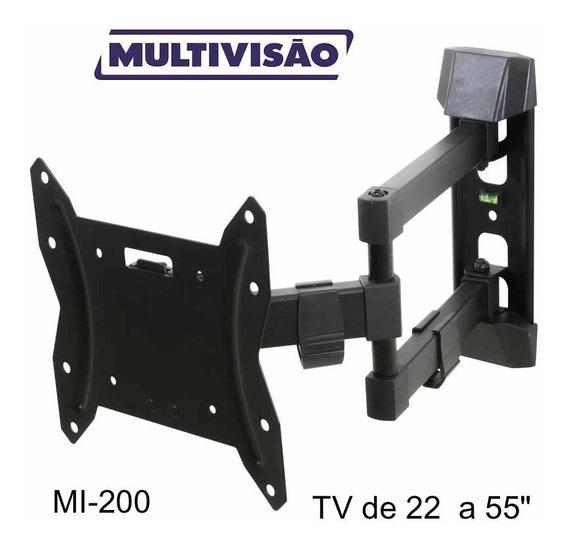Suporte Para Tv Multivisao Tri-articulado Com Inclinacao 22 A 56 Mi-200-preto