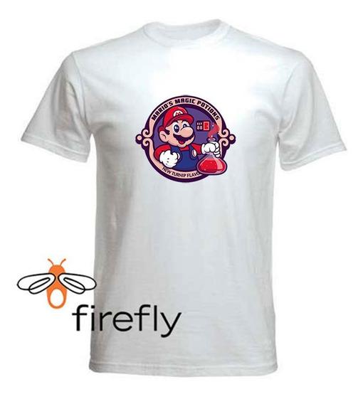 Remera Mario Bross Hombre Blanca Coleccion 3 Firefly