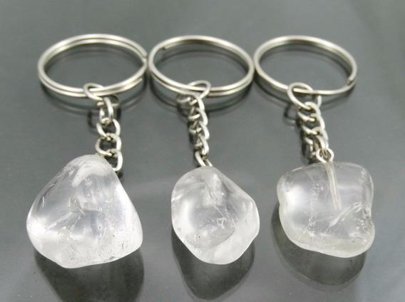 Kit 3 Chaveiros De Cristal Transparente