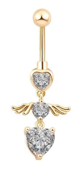 Piercing De Umbigo Dourado Zirconia Coração Pendurado Ouro