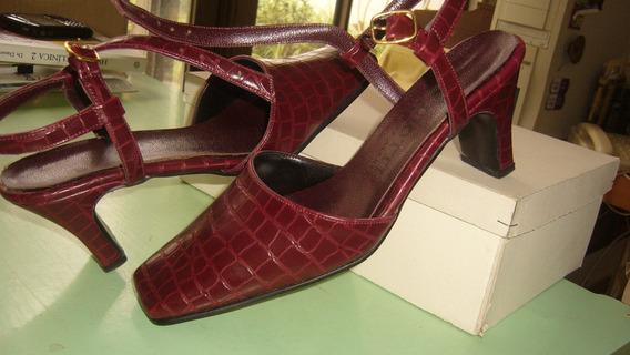 Zapatos De Liotti - Nro.37 - Color Bordeaux - Simil Lagarto