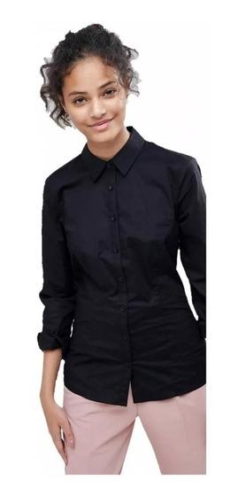 Camisa Dama Mujer Elastizada Entallada Slim Fit Al Cuerpo