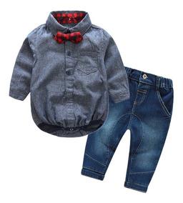 Roupa Social Conjunto Bebê Festa Menino Body E Calça Jeans