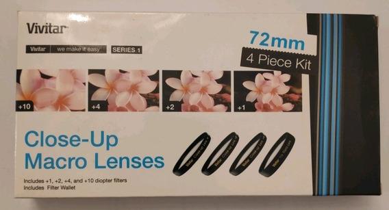 Kit De Filtros Close-up Macro 72mm Vivitar +1 +2 +4 +10
