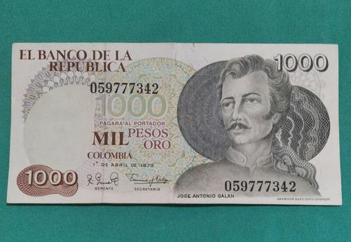 Imagen 1 de 2 de   Billete Antiguo Colombiano 1000 Pesos Galan Año 1979 Bueno