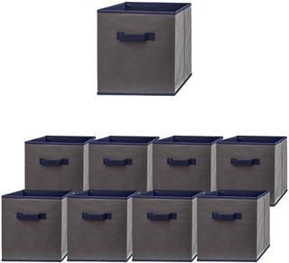 Cubos De Tela Organizadores Resistentes Gris/azul 9 Pack