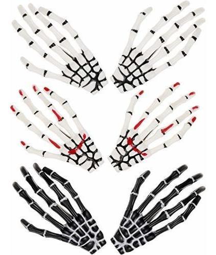 6 Piezas Esqueleto Manos Hueso Pinzas Para El Cabello Garras
