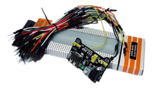 Protoboard 830 Puntos + Fuente 5v 3.3v + 65 Cables M - M