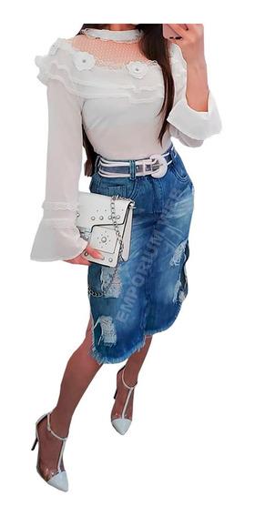 Saia Jeans Midi Destroyed Tendência Momento Moda Blogueiras