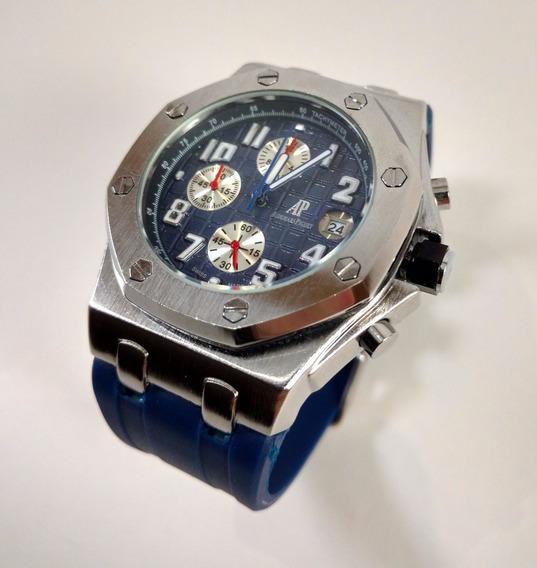 Relógio 100% Funcional Estilo Ap Barato Top Azul Prata