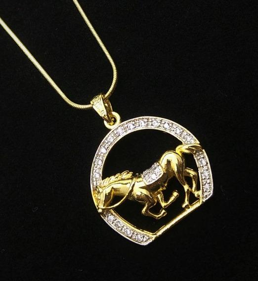 Cordão E Pingente Cavalo Ferradura Zirconias Banho Ouro 3605