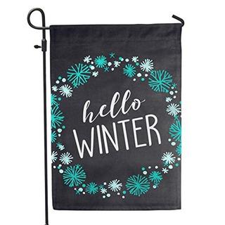 Segundo East Hello Winter Garden Flag Patio Exterior
