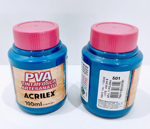 Imagem 1 de 2 de Tinta Pva Fosca Azul Turquesa 100 Ml Acrilex - Cod 501