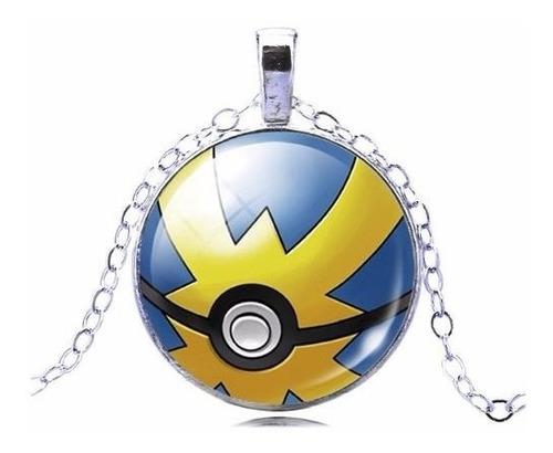 Colar E Pingente Pokebola Pokemon Folheado A Prata