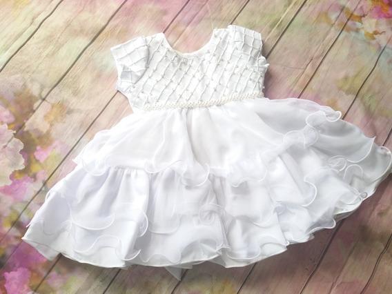 Vestido Batizado Branco Daminha Bebê Menina Festa 2402