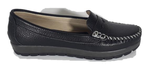 Mocasin Mujer Cuero Zapato Chatita Goma Confort T 41 Envio