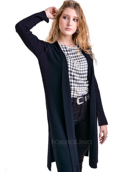 Cárdigan Tapado Largo Saco Sn Botones Sweater Negro Kierouno