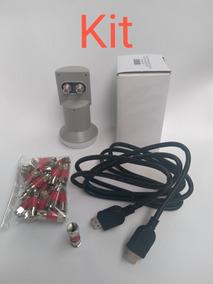 Kit Lnb Ku Duplo+cabo Hdmi 1,80m+20 Conectores Rg 59 P/ Tv