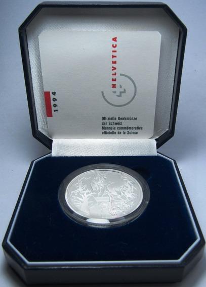 Suiza Estuche Moneda 20 Francos 1994 Plata Puente Proof