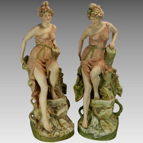 Antiguo Par Figuras Porcelana Royal Dux República Checa