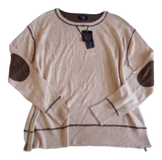 Sweter Ligero Talla S, Nuevo C/etiq, Parches Codos, 10% Lana