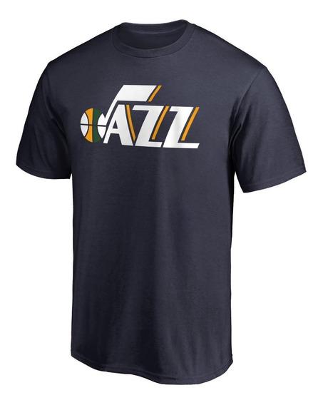 Remera Basket Nba Utah Jazz Logo Simple Azul Marino