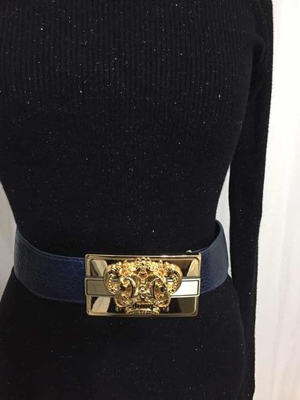 Cinto Dimy Luxo Em Couro Azul Marinho Com Detalhes Dourados