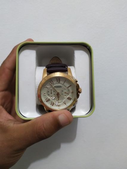 Relógio Fossil Dourado Com Pulseira De Couro