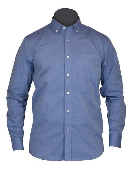 Camisa Caballero Manga Larga, Azul, Moderna, Algodón Chambra