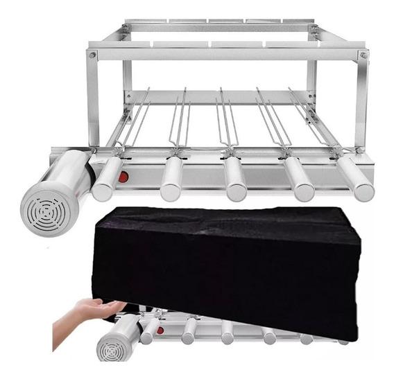 Churrasqueira Inox Gira Grill - 5 Espetos Giratórios Brinde
