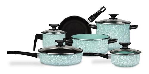 Imagen 1 de 2 de Batería De Cocina Cinsa Granito Jade Menta 10 Piezas