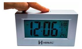 Relógio 2972 Despertador Digital Prata Luz Led Sensor Herweg
