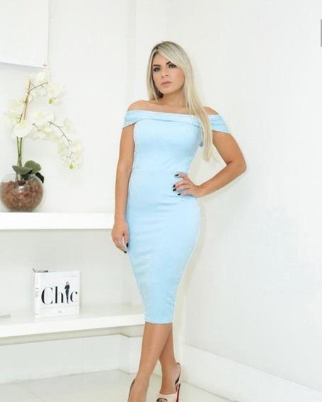 Vestido Feminino Moda Midi Em Alta Decote Tomara Que Caia