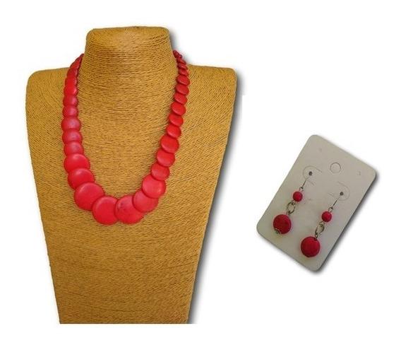 Conjunto Colar + Brincos Pedra Howlita Coral Ref 9890