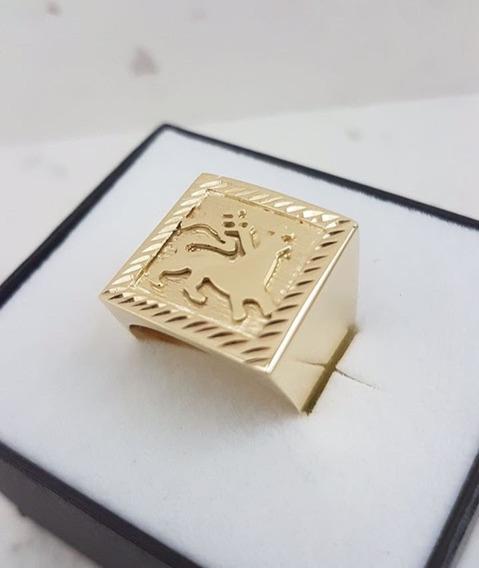Anel Leão Com Bandeira Masculino 10,0g Em Ouro 18k - 750