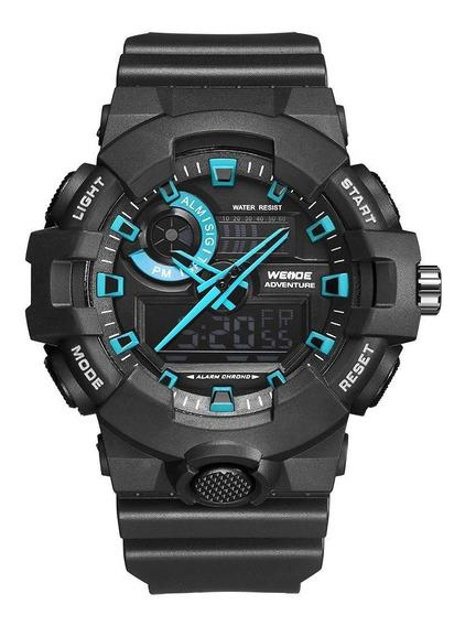 Relógio Masculino Weide Anadigi - Preto E Azul Original