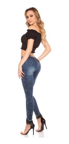 Koucla Skinny Jeans Push-up Acid Con Punta De Diamantes