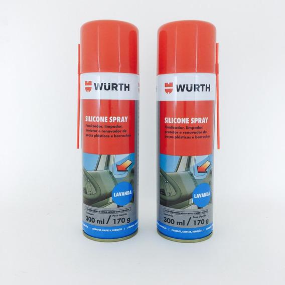 Kit Com 2 - Silicone Spray Wurth Lubrifica Esteira Moto Ind