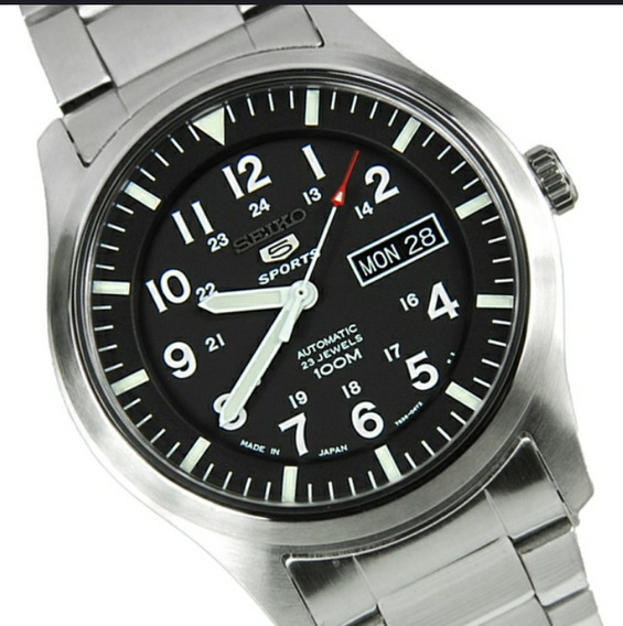 Relógio Seiko Estilo Militar Aço + Brinde