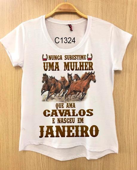 Baby Look Blusa Cavalos Frase Cowgirl De Janeiro C1355