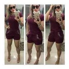 Conjunto Cropped E Shorts Viscolycra Pronta Entrega P.m.g