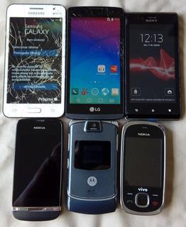 Lote Com 6 Aparelhos, Smartphones, Celulares Diversas Marcas