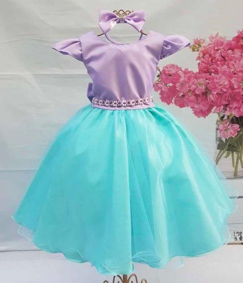 Vestido Pequena Sereia Ariel Fundo Do Mar Festa Luxo E Tiara