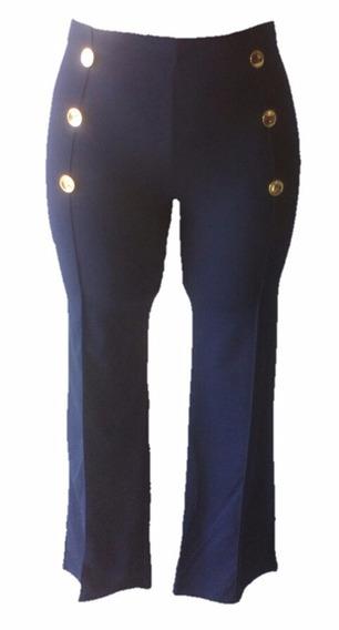 Pantalón Acampanado Vestir Strech Botones Cintura Alta