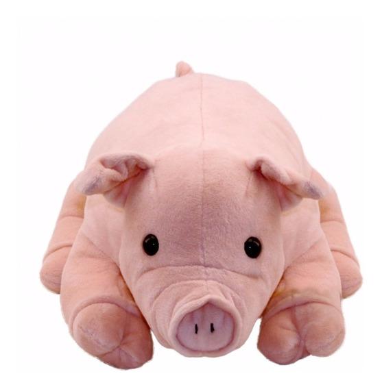 Porco Rosa Deitado 30cm - Porquinho De Pelúcia 30cm Fofinho