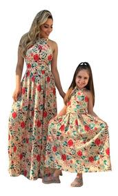 Vestido Longo Vestido Estampado Tal Mãe Tal Filha 5 Em 1