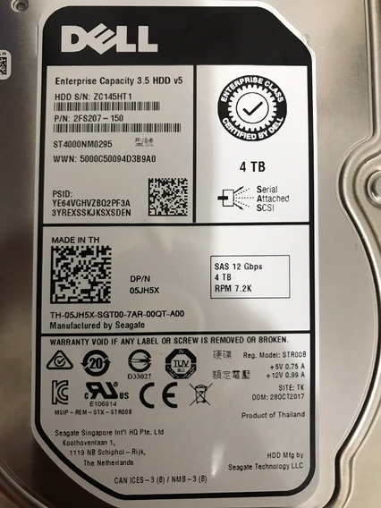 Hd Dell 4tb Sas 7.2k 3.5 12bbps 5jh5x